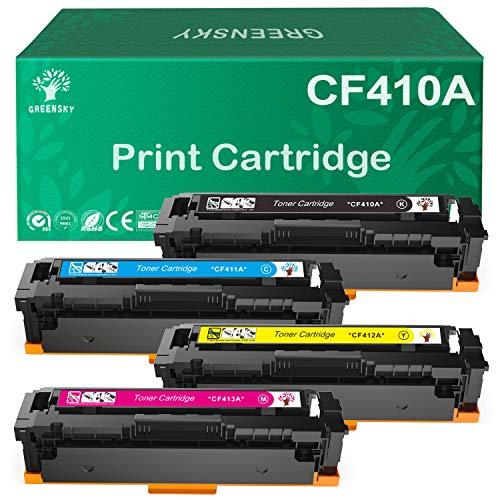 GREENSKY Compatible Toner Cartridge Replacement for HP 410A CF411A CF412A CF413A 410X CF410X for HP Color Laserjet Pro MFP M477fdw M477fnw M377dw M452dw Printer (4 Pack)