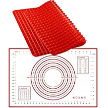 """Silicone Baking Mat with Measurements and Conversions , Easy to Clean and Reusable Pyramid Pan Mat Bakeware Set , FDA Approved , Non Slip Glass Fiber Pastry Mat Large Size 23.62"""" X 15.74"""" for Baking Desserts , Bake Pan , Rolling Mat , Cookies Sheet , Pizza Dough"""