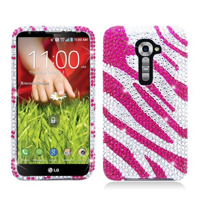 AIMO Dazzling Diamond Bling Case for LG G2 VS980I [Verizon] (Zebra - Pink) (Verizon Lg G2 Bling Case)