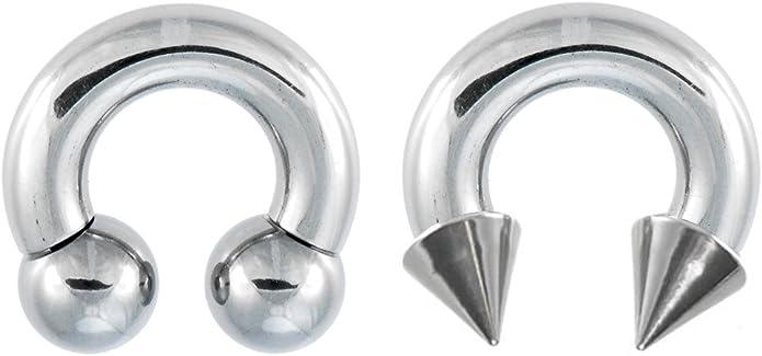 playful piercings Set of 2 Rings: Septum Nipple Cartilage Spike /& Ball Hypoallergenic Surgical Steel Horseshoe Ring Lip Tragus 10g, 8g, 6g, 4g, 2g Belly Earring Hoop