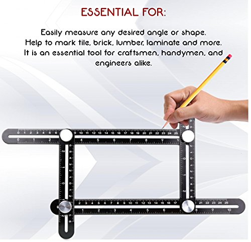 DMTOOLS PREMIUM Multi-Angle Measuring Ruler: Heavy Duty Aluminum Alloy | Angleizer Template Tool | Perfect gift for Carpenters, Roofers, Handymen, Craftsmen, Builders, Tilers | Precision Measurement by DMTOOLS (Image #1)