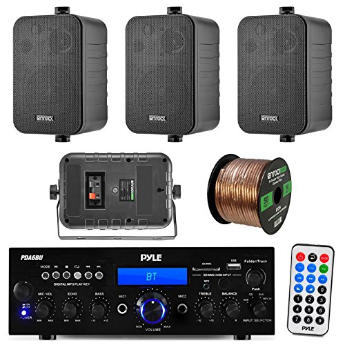 Pyle PDA6BU 200-Watt 2-Channel Digital USB/AUX FM Radio Stereo Amplifier Receiver, Bundle Combo With 4x Enrock EKMR408B 4″ Inch 200-Watt 3-Way Black Box Speakers, 50 Feet 18-Gauge Speaker Wire
