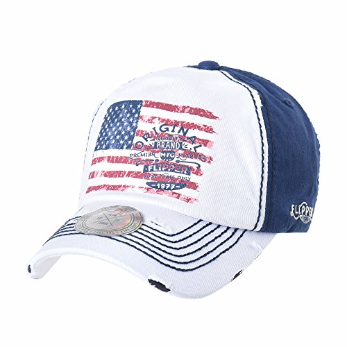 (WITHMOONS Baseball Cap Star and Stripes American Flag Hat AL1698 (White))