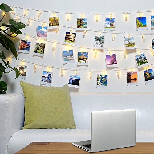 Artbisons 20Led Photo Clips String Lights/Holder Waterproof, Indoor Fairy String Lights Battery Operated Dorms Bedroom Wedding Party Warm White Decor Lights for Hanging Pics, Cards and Memos