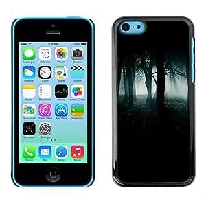 Caucho caso de Shell duro de la cubierta de accesorios de protección BY RAYDREAMMM - Apple iPhone 5C - Forest Green Mist Fog Dark Spooky