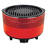 Unique Imports Portable Smokeless Charcoal BBQ Grill Compact Barbecue Grill - Built-in Battery Operated Fan with Removable Electronics for Camping