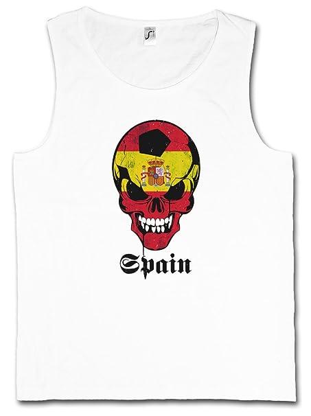 Classic Spain FÚTBOL Football Soccer Skull Flag Camiseta SIN Mangas – Bandera cráneo España Fan Hooligan