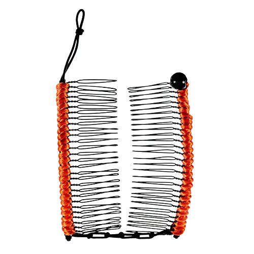 HairZing Cord S-T-R-E-T-C-H Banana Comb, Hair Accessory, Perfect for Easy Ponytail, UpDo or Faux Hawk, Orange, Large