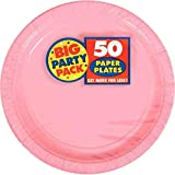 Amscan Big Party Pack 50 Count Paper Dessert Plates, 7-Inch, New Pink