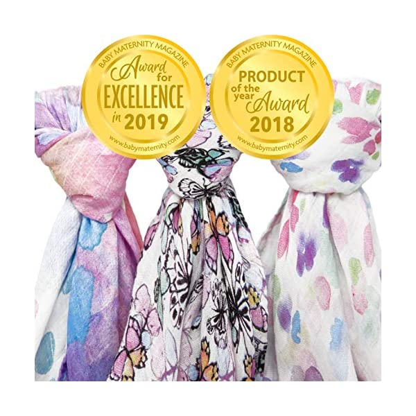 Muslin Swaddle Blanket Set 'Flutter' Large 47×47 inch | Super Soft Bamboo Blankets | Flowers, Butterflies, and Florals | 3 Pack Baby Shower Gift Bundle of Swaddles for Girls | 10,000 Wash Warranty