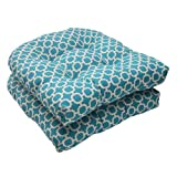 Cheap Pillow Perfect Indoor/Outdoor Hockley Wicker Seat Cushion, Teal, Set of 2