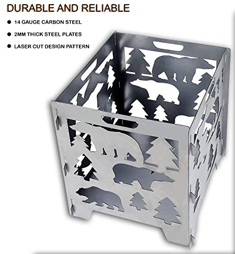 "SuperHandy Incinerator Cage Fire Box California Bear Christmas/X-Mas Tree (Develops Patina Finish) Heavy Duty Steel 21""x 21""x 27"" inches for Burning Wood at Bonfire, Beach Pit or Backyard Gathering… - ULTRA DURABLE & RELIABLE - This Incinerator is made from 14 Gauge Carbon Steel with 2mm thick steel plates for sturdy and reliable support. Our firebox is made with extra reinforcement with tough base cross supports that can with stand the weight & heat. Laser cut for an accurate precision design pattern that draws the attention as the fire swells providing warmth on a cold night. SIMPLE SET UP - This portable fire pit is made to be simply assembled & dissembled in minutes, perfect for any outdoor occasion. We designed this unit for ease of portability with handles on all 4 sides & with a great diameter of 21""x21""x27"" for plenty of wood to burn. An ideal choice for: General Bonfire Areas (Camping), Backyard Gatherings, Patios/Decks & Beach Kickbacks. CLASSIC ANTIQUED METAL - We Chose Carbon Steel knowing it will develop a Patina Finish (Rust) from use overtime. This Burn Cage is meant to age & develop a Tarnished Antique Patina Vintage Finish. Our Fire Box caters to those who appreciate the finer quality of aesthetic looking timeless art & the nostalgia of fashionable aged decor. - patio, outdoor-decor, fire-pits-outdoor-fireplaces - 511J5BVZGRL -"