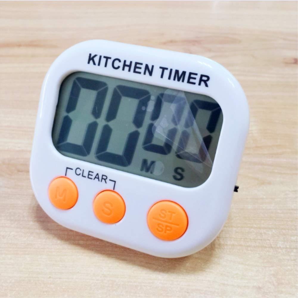 Temporizador de cocina, temporizador digital de cocina con pantalla LCD grande. (White + Orange )
