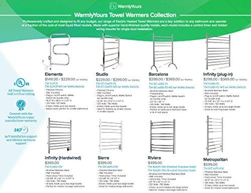 WarmlyYours 8-Bar Sierra Towel Warmer, Hardwired, Polished Stainless Steel by WarmlyYours (Image #3)