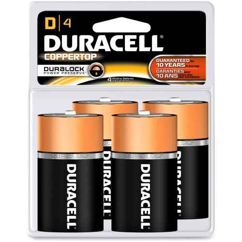 CopperTop Alkaline Batteries with Duralock Power Preserve Technology, D, 4/Pack