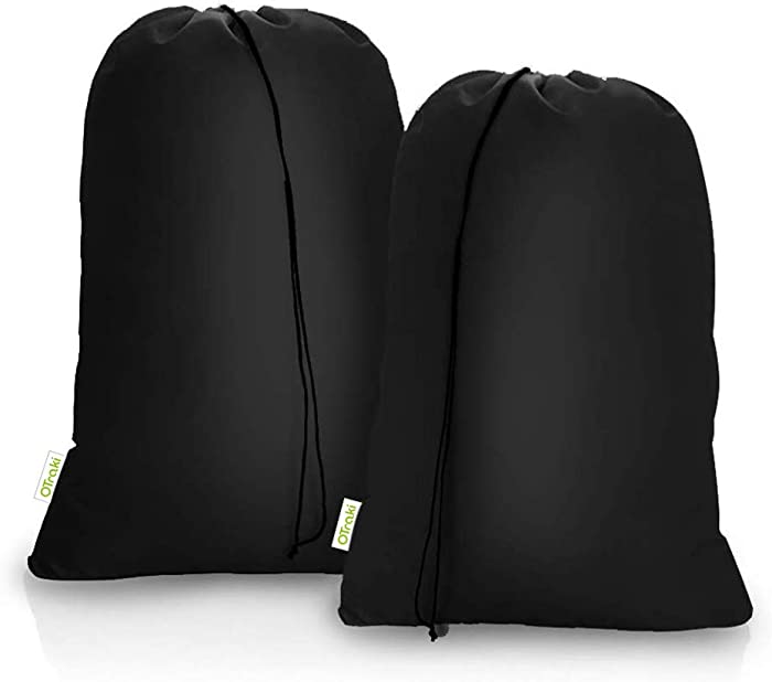 OTraki Extra Large Laundry Bags 2 Pack 28'' x 45'' Heavy Duty XL Organizer Bag Fit Laundry Hamper Basket College Travel Dorm Tear Resistant Drawstring Dirty Cloth Storage, Three Loads of Clothes Black