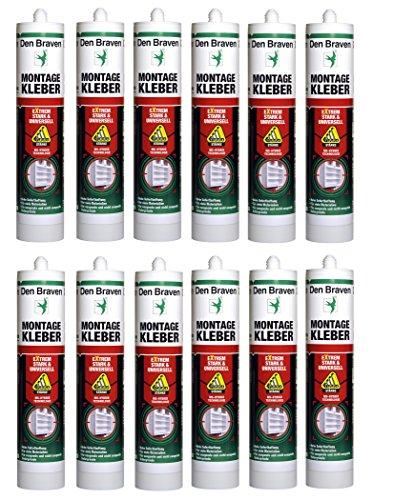 Den Braven Montagekleber Extrem Stark und Universell, 455 g, MS Hybrid Kleber, hohe Haftung, hochwertiger Klebstoff, Made in Germany, 12 Stück im Karton, 4016960014861