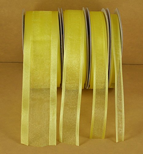 Canary Yellow Organza Satin Edge Ribbon Choose Size 25 Yards 3/8