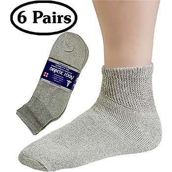 Diabetic Socks Mens Cotton 6-Pack Crew Grey by DEBRA WEITZNER