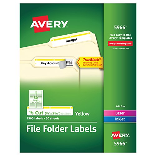 Avery Yellow File Folder Labels for Laser and Inkjet Printers with TrueBlock Technology, 2/3 inches x 3-7/16 inches, Box of 1500 (5966)