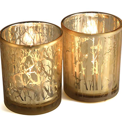 - lEPECQ Wedding Decorations Gold Votive Candle Holders, Large Size Candle Holders Gift Set, Coffee Table Decor, Gold Tree Tealight Holders for Wedding, Holiday Table Centerpiece, 4.92
