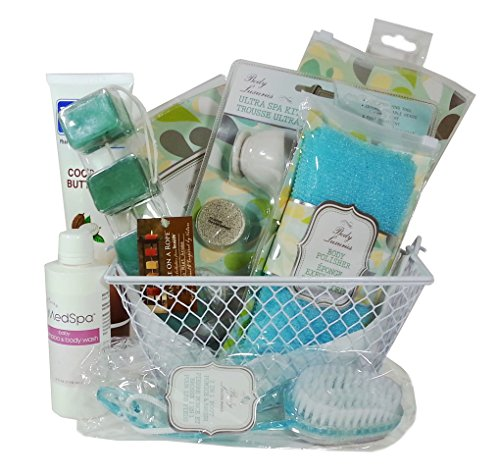 Exfoliation Essentials Spa Bath & Shower Gift Basket Set for Smooth Glowing Skin (18 Piece)