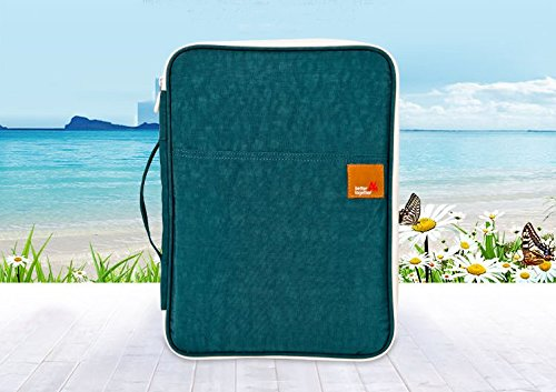 Mesh Front Portfolio (Multi-functional A4 Document Bags Portfolio Organizer--Waterproof Travel Pouch Zippered Case for Ipads, Notebooks, Pens, Documents (Blue))