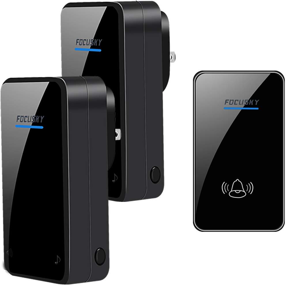 Wireless Doorbell,2 Plugin Receivers and 1 Waterproof Button-Door Chime Kit with 1000ft/300m Operating Range -48 Different Ringtones -Adjustable Volume (Black 2)