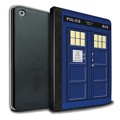 STUFF4 PU Leather Book/Cover Case for Apple iPad 9.7 (2017) Tablets/Blue Design/Tardis Phone Box Art Collection