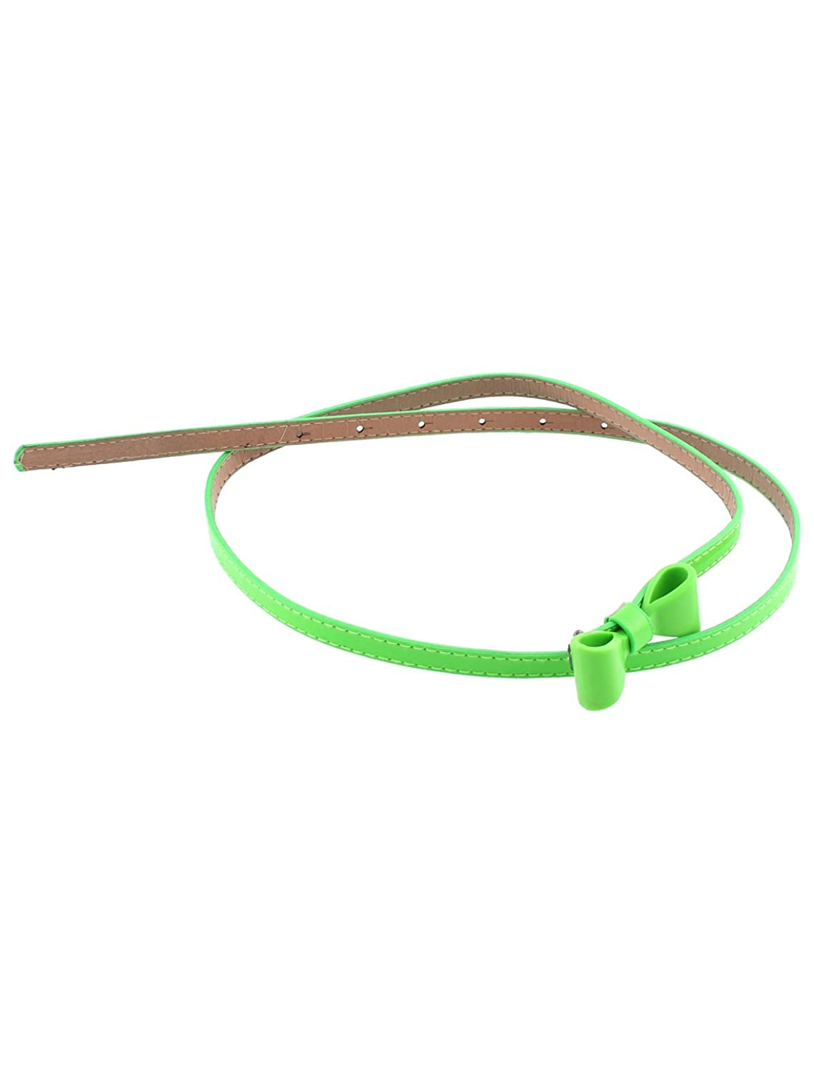 Bowknot Decor Adjustable Green Faux Leather Slim Waist Belt for Lady
