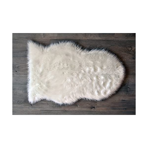 Machine Washable Faux Sheepskin White Rug 32″ x 44″ – Soft and Silky – Perfect for Baby's Room, Nursery, playroom (2′ 7″ x 3′ 7″) – Pelt Large White