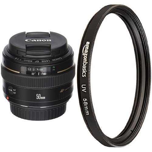 Canon EF 50mm f/1.4 USM Standard & Medium Telephoto Lens with UV Protection Lens Filter - 58 mm by Canon