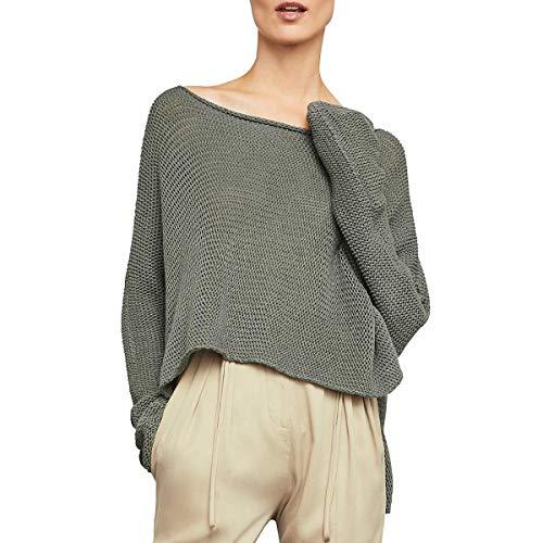 BCBGMAXAZRIA Women's Long-Sleeve Asymmetrical Knit Top