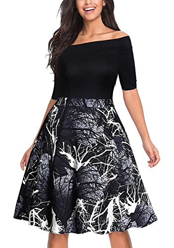 Tuliplazza Women's Boat Neck Casual Printing Office Work Formal Party Midi Dress