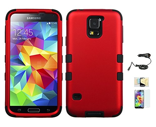 Price comparison product image Galaxy S5 Case ,(Red+Black), Hybrid Hard Soft Durable Bumper Armor Back Cover for Samsung Galaxy S5, Included Momiji® (Screen Protector, Cleaning Cloth, Car Charger), Samsung Galaxy S5 Case