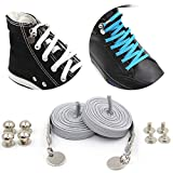 No Tie Shoelaces for Sneakers,Lazy Shoelace for Kids Adults,One Handed Buckle Shoe Laces Stainless Steel Buckle (light grey)