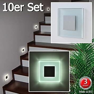 Juego de 10 SUN-LED focos lámpara de pared LED para escaleras, escalera, corridor, luz blanca