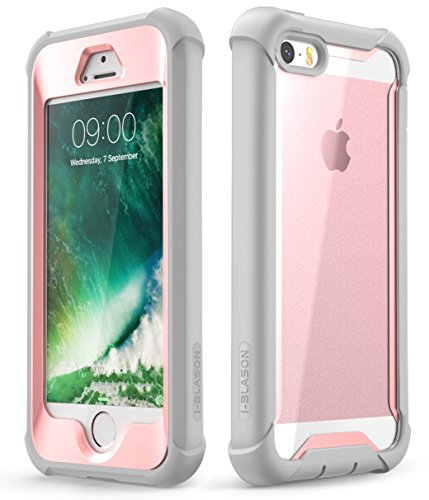 i-Blason Ares Designed for iPhone SE Case, iPhone 5s/5 case, Full-Body Rugged Clear Bumper Case with Built-in Screen Protector for Apple iPhone SE 2016 Release (Compatible with iPhone 5s/5) (Pink) (5 Encase Iphone)