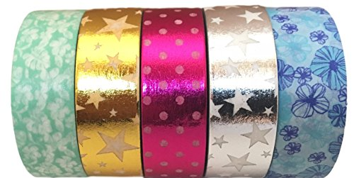 Washi Tape By L'artisant - Premium Quality Set of 5 Amazing Rolls.(Wizard of Oz) (Wizard Of Oz Decoration Ideas)