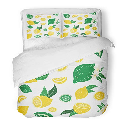 Emvency Bedding Duvet Cover Set King (1 Duvet Cover + 2 Pillowcase) Lemons and Limes Pattern with Leaves and Flowers Can Be Use Also Drink Company Hotel Quality Wrinkle and Stain Resistant