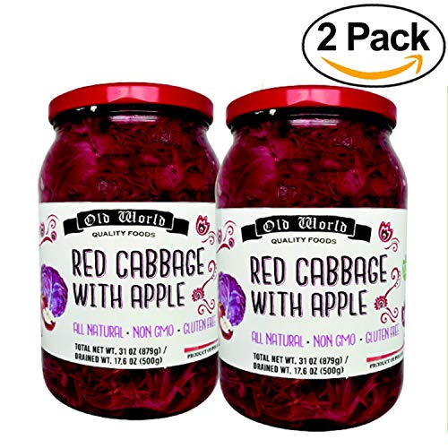 Old World Red Cabbage with Apple NON GMO | Gluten Free | BUNDLE 2 JARS 31OZ - Red And Cabbage Apple