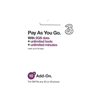 Amazon.com: (Unlimited) Three Mobile Sim Card 2GB of High ...