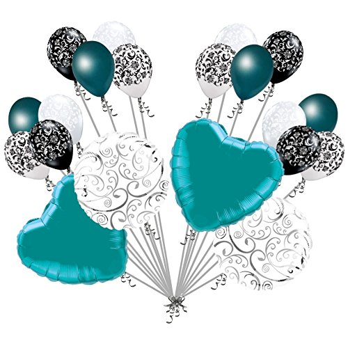 20 pc Teal Hearts & Swirls Balloon Bouquet Wedding Baby Shower Bridal (Bouquet Shaped Balloon)