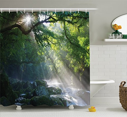 Ambesonne Rainforest Shower Curtain Decor, Stream in the Jungle Stones under Shadows of Trees Sunlight Mother Earth Theme, Fabric Bathroom Set with Hooks, 69W X 70L Inches Long, Green and White