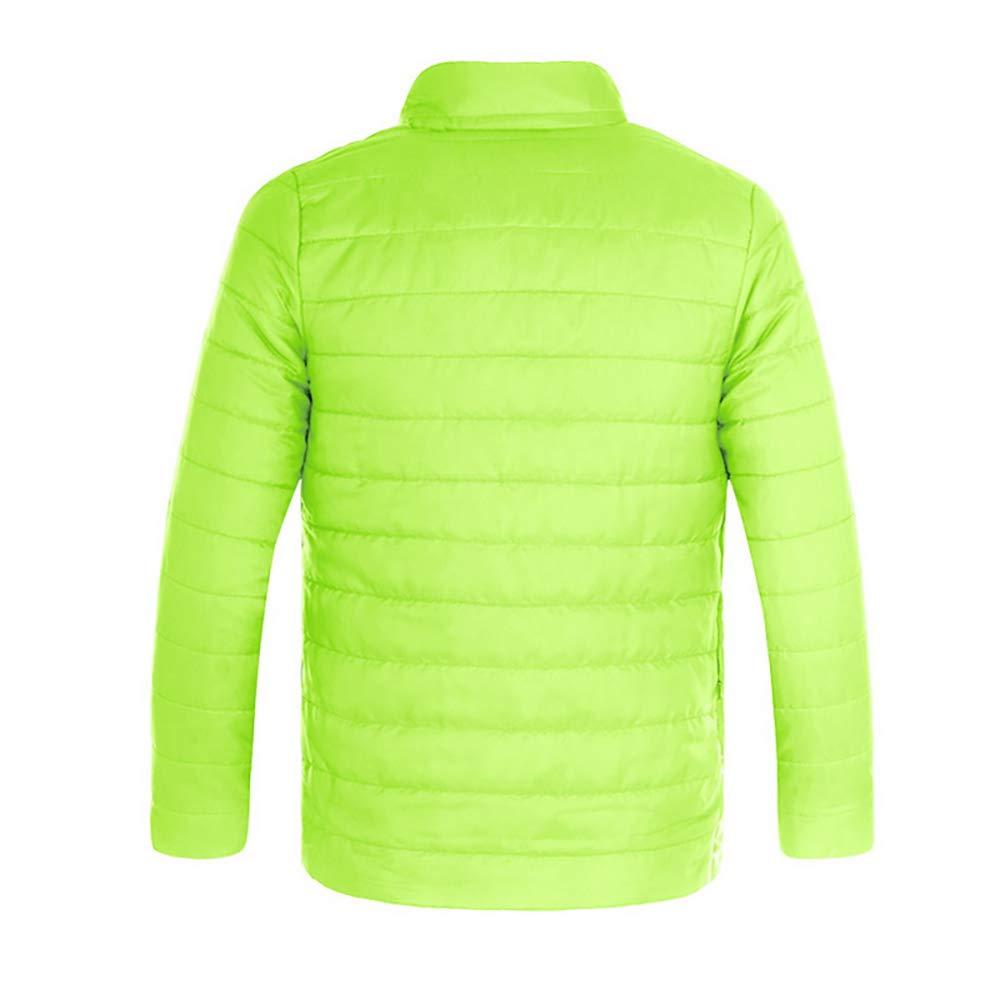 Decha Homme Hiver Manteau Épais Veste en Coton Blouson Chaud Parka Veston Col Roulé Doudoune Casual Vert Fluorescent