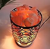 MMJDSKH Crystal salt lamp salt crystal lamp wrought iron container decoration table lamp bedside lamp creative Decoration night light