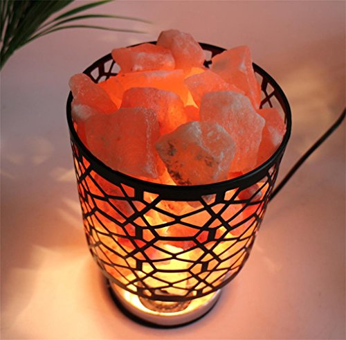 MMJDSKH Crystal salt lamp salt crystal lamp wrought iron container decoration table lamp bedside lamp creative Decoration night light by GuiXinWeiHeng