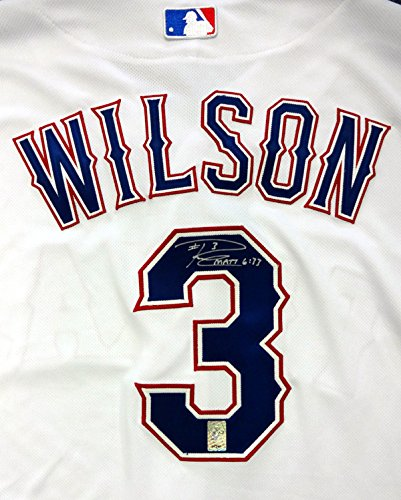 - Russell Wilson Autographed Texas Rangers White Authentic Majestic Cool Base Jersey RW Holo