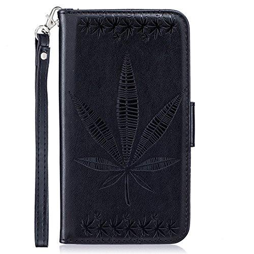 SRY La caja del soporte de la carpeta del tirón del cuero de la PU con la ranura para tarjeta en relieve diseño de la hoja de arce para Samsung Galaxy S5 I9600 ( Color : Black ) Black