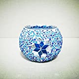 Ryocas Decorative Glass Candle Holder - Boho Chic Bohemian Style Emerald Sapphire Colored Beaded Floral Patterned Glass